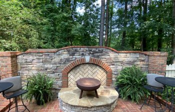 Stone fireplace on the terrace
